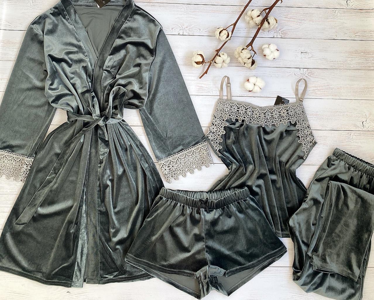 Женская велюровая пижама четверка L