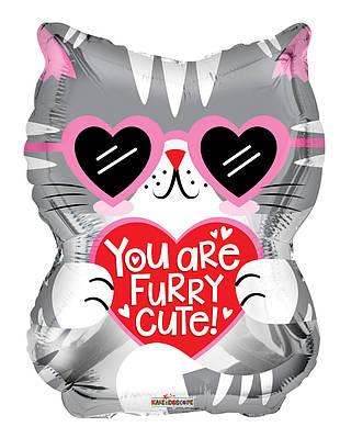 """К 18"""" You Are Furry Cute Cat Foil Balloon. Фольгированный шар Котенок Ты милый пушистик"""