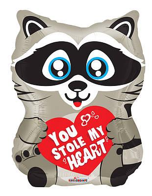 """К 18"""" Love Raccoon Shape Foil Balloon. Фольгированный шар Влюбленный енот"""