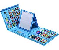 Детский набор для рисования и творчества 208 предметов в кейсе с ручкой и мольбертом Синий