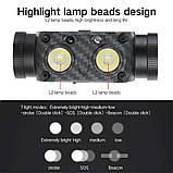 Налобный фонарь Boruit B35 с датчиком движения+Аккумулятор 21700 (XM-L2*2, 3000лм, USB, IPX4), фото 3