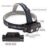 Налобный фонарь Boruit B35 с датчиком движения+Аккумулятор 21700 (XM-L2*2, 3000лм, USB, IPX4), фото 5