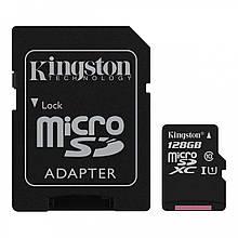 Карта памяти Kingston Canvas microSDXC + SD adapter SDCS 128GB 128GB, Class10, UHS-I, 80MB s 1038, КОД: