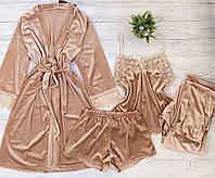Женская велюровая пижама четверка S