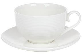 Чайная пара: чашка фарфоровая 310мл с блюдцем, цвет - белый, в упаковке 4шт. (988-277)