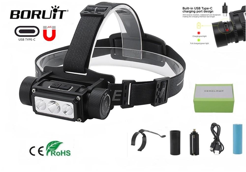 Налобный фонарь Boruit B39 с магнитом и USB Type-C + Аккумулятор 21700 (XM-L2+XP-G2*2шт, 5000лм, IPX4)
