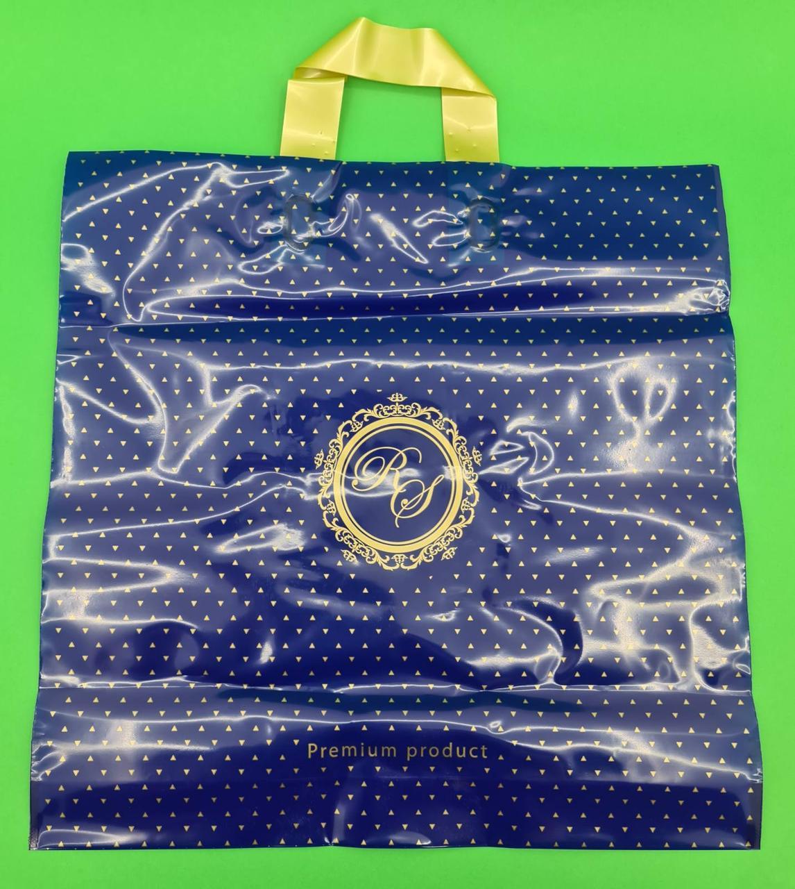 Пакет с петлевой ручкой 40*40 Лилия премиум синий (25 шт)