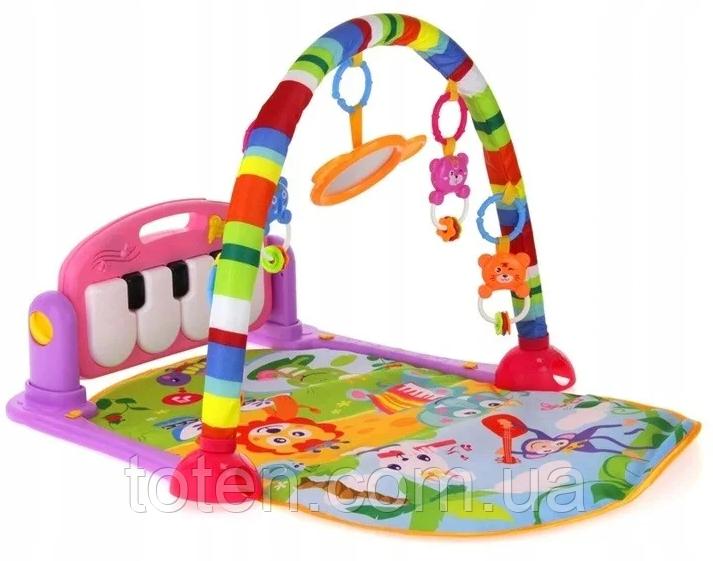 """Развивающий музыкальный коврик """"Пианино"""" HE0603-HE0604 с подвесными игрушками Розовый"""