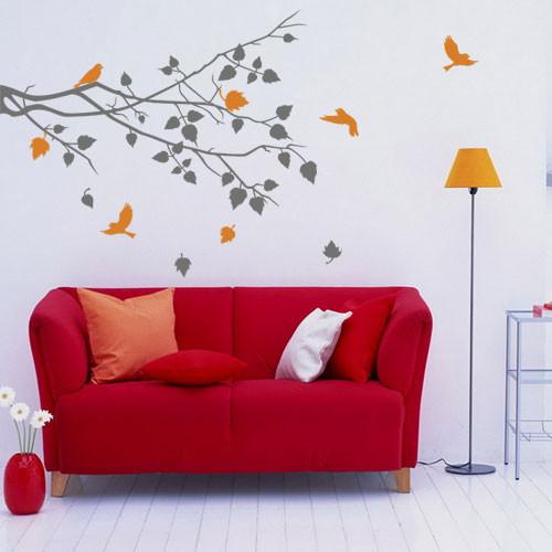 Виниловая интерьерная наклейка на стену Веточка с листьями (самоклеющиеся наклейки деревья, птицы, пленка)