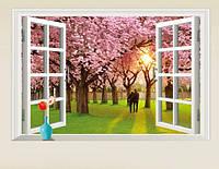Інтер'єрна наклейка на стіну Пара в саду сакури