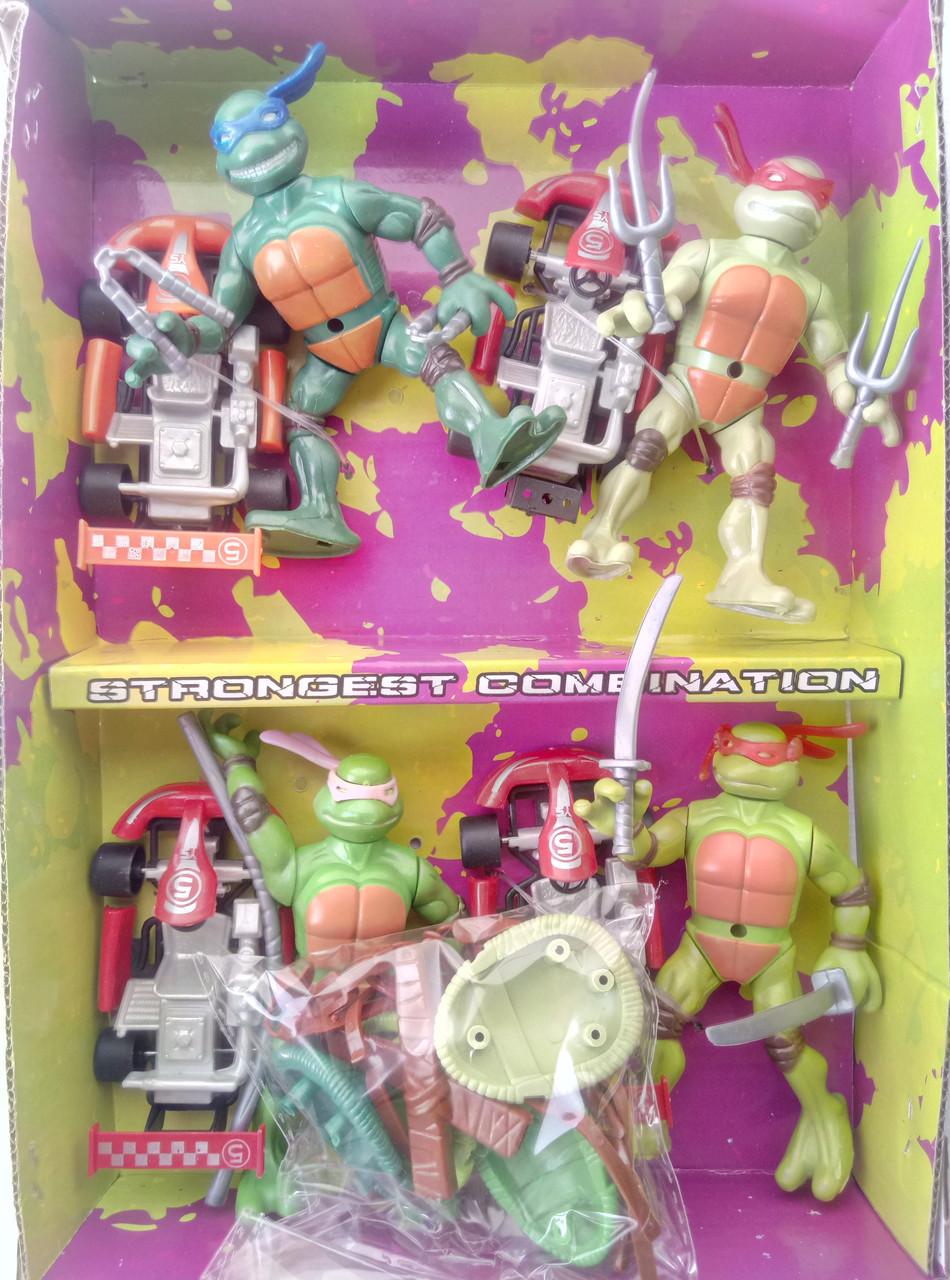 Игровой набор черепашки-ниндзя 4 фигурки с аксессуарами и машинками
