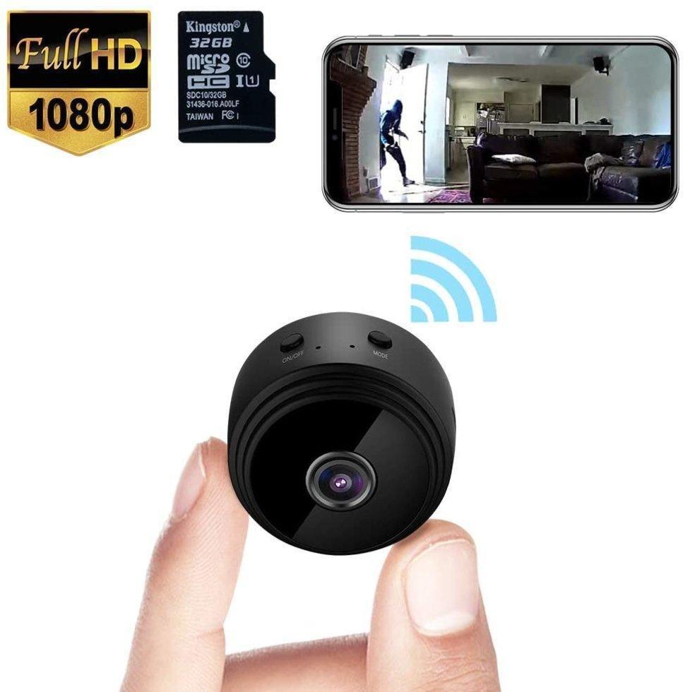 Беспроводная мини WiFi  камера видеонаблюдения 1080P HD + карта 32 гб