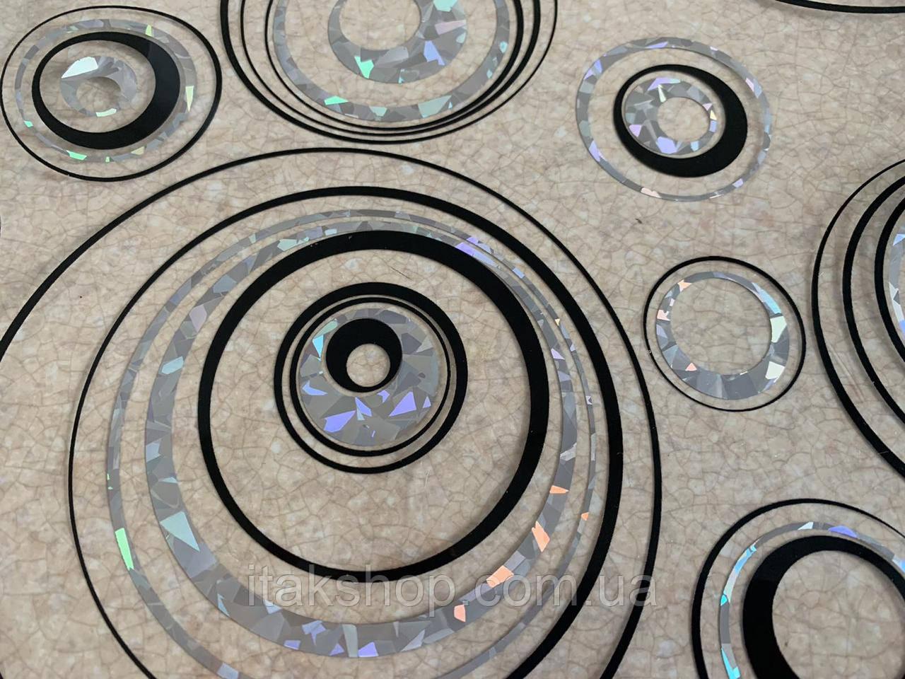 М'яке скло Скатертину з лазерним малюнком Soft Glass 1.4х0.8м товщина 1.5 мм Сріблясто-чорні кола