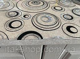 М'яке скло Скатертину з лазерним малюнком Soft Glass 1.4х0.8м товщина 1.5 мм Сріблясто-чорні кола, фото 2