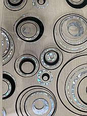 М'яке скло Скатертину з лазерним малюнком Soft Glass 1.4х0.8м товщина 1.5 мм Сріблясто-чорні кола, фото 3