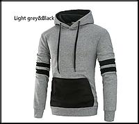 Толстовка , реглан, куртка з капюшоном розмір L ВСКА Код 61 сіро-чорна, фото 1