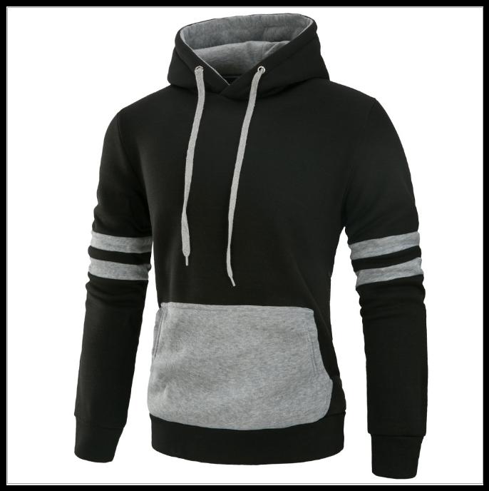 Толстовка , реглан, куртка с капюшоном M-XL ВСКА Код 61 чёрно-серая