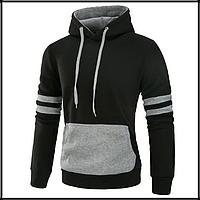 Толстовка , реглан, куртка с капюшоном M-XL ВСКА Код 61 чёрно-серая, фото 1