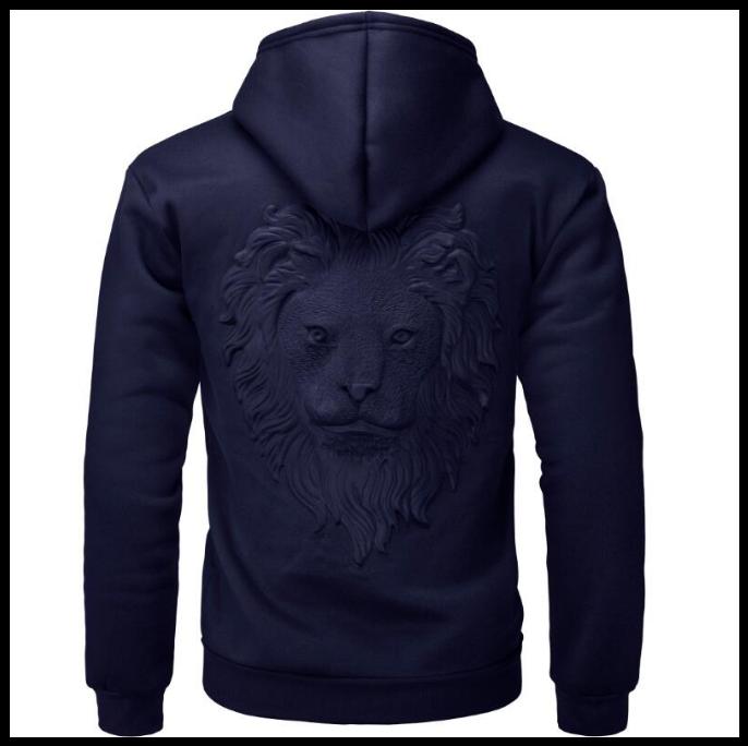 Пуловер свитер с капюшоном, 3D свитер с головой льва код 65 темно-синий
