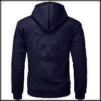 Пуловер свитер с капюшоном, 3D свитер с головой льва код 65 темно-синий, фото 1