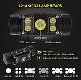 Налобный фонарь Boruit B50 + 5000mAh LiitoKala аккумулятор (XM-L2+XP-G2*4, 6000лм, 1*21700, USB TypeC, Магнит), фото 2
