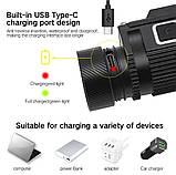 Налобный фонарь Boruit B50 + 5000mAh LiitoKala аккумулятор (XM-L2+XP-G2*4, 6000лм, 1*21700, USB TypeC, Магнит), фото 6