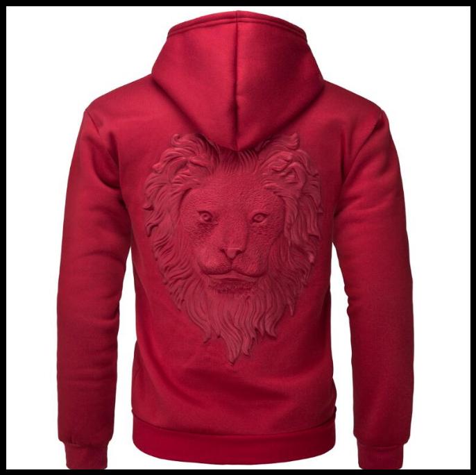 Пуловер светр з капюшоном, 3D светр з головою лева код 65 червоний