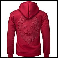 Пуловер светр з капюшоном, 3D светр з головою лева код 65 червоний, фото 1