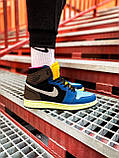 Кроссовки Nike Air Jordan Retro 1 Blue Brown, фото 6