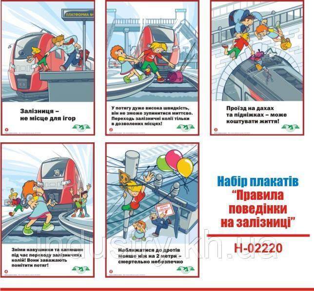 """""""Правила поведінки на залізниці"""". (5 плакатів, ф. А3)"""