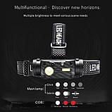 Налобный фонарь Boruit QC101 с датчиком движения+Аккумулятор 18650 (XM-L2+COB, 800лм, USB, IPX4, 3 спектра), фото 2