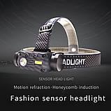 Налобный фонарь Boruit QC101 с датчиком движения+Аккумулятор 18650 (XM-L2+COB, 800лм, USB, IPX4, 3 спектра), фото 3