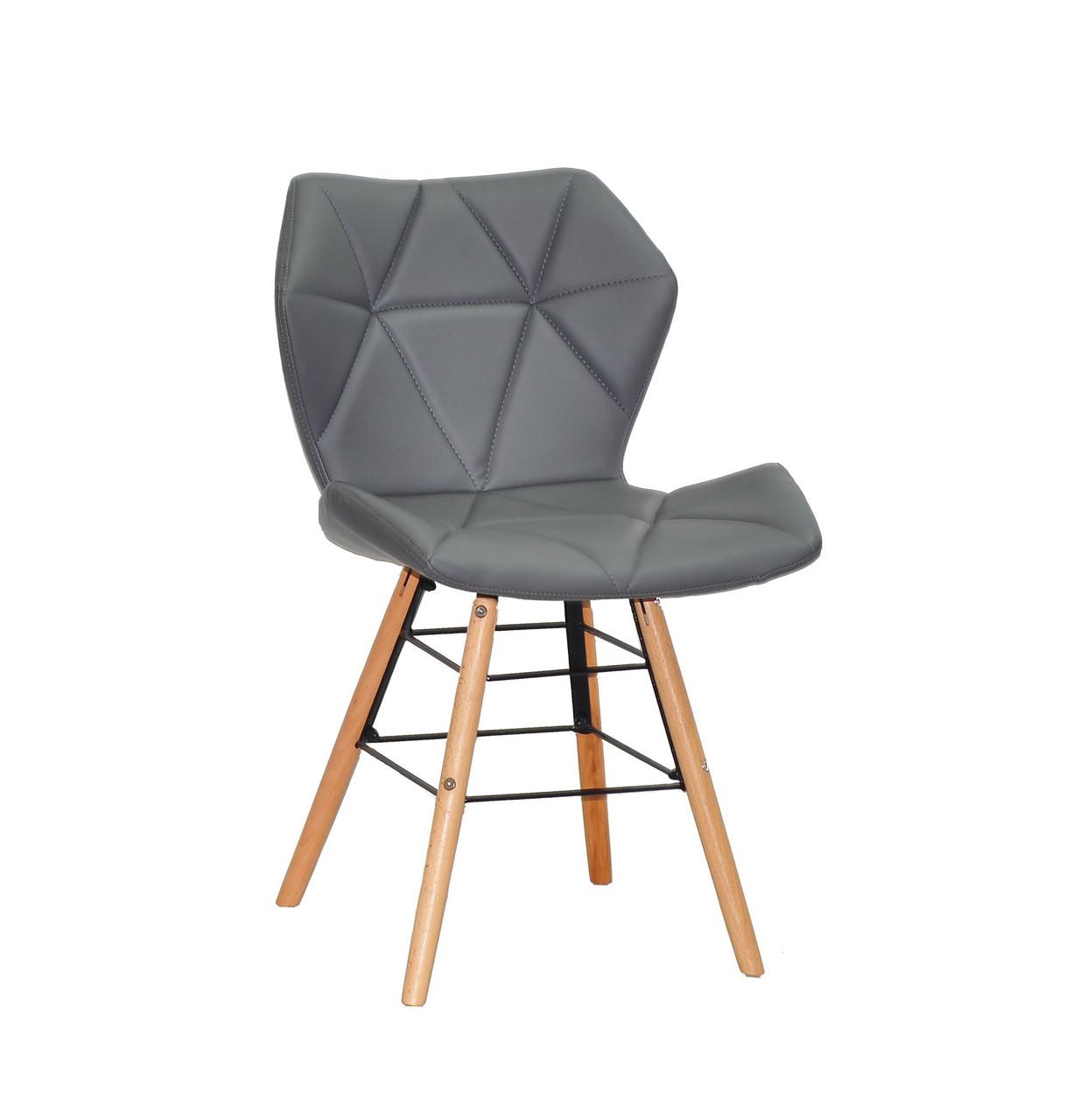 Сірий обідній стілець на дерев'яних ніжках з чорною хрестовиною в еко шкірі Greg