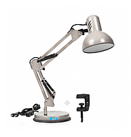 Настольная лампа с подставкой и струбциной под лампу E27 серебро LOGA