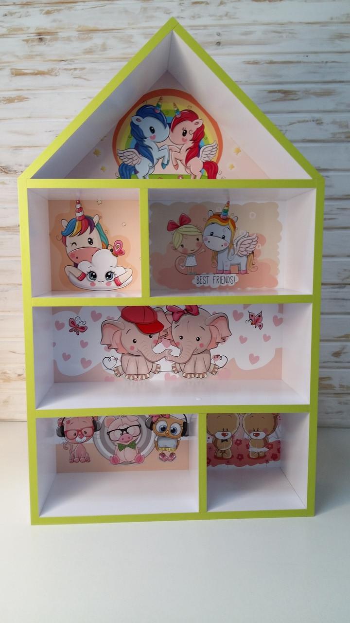 Домик полка Единороги,  белый стеллаж, детский шкафчик, домик для кукол, игрушек, для девочки  PLK-L-3