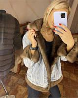 Куртка короткая джинсовая с натуральным мехом норки Турция