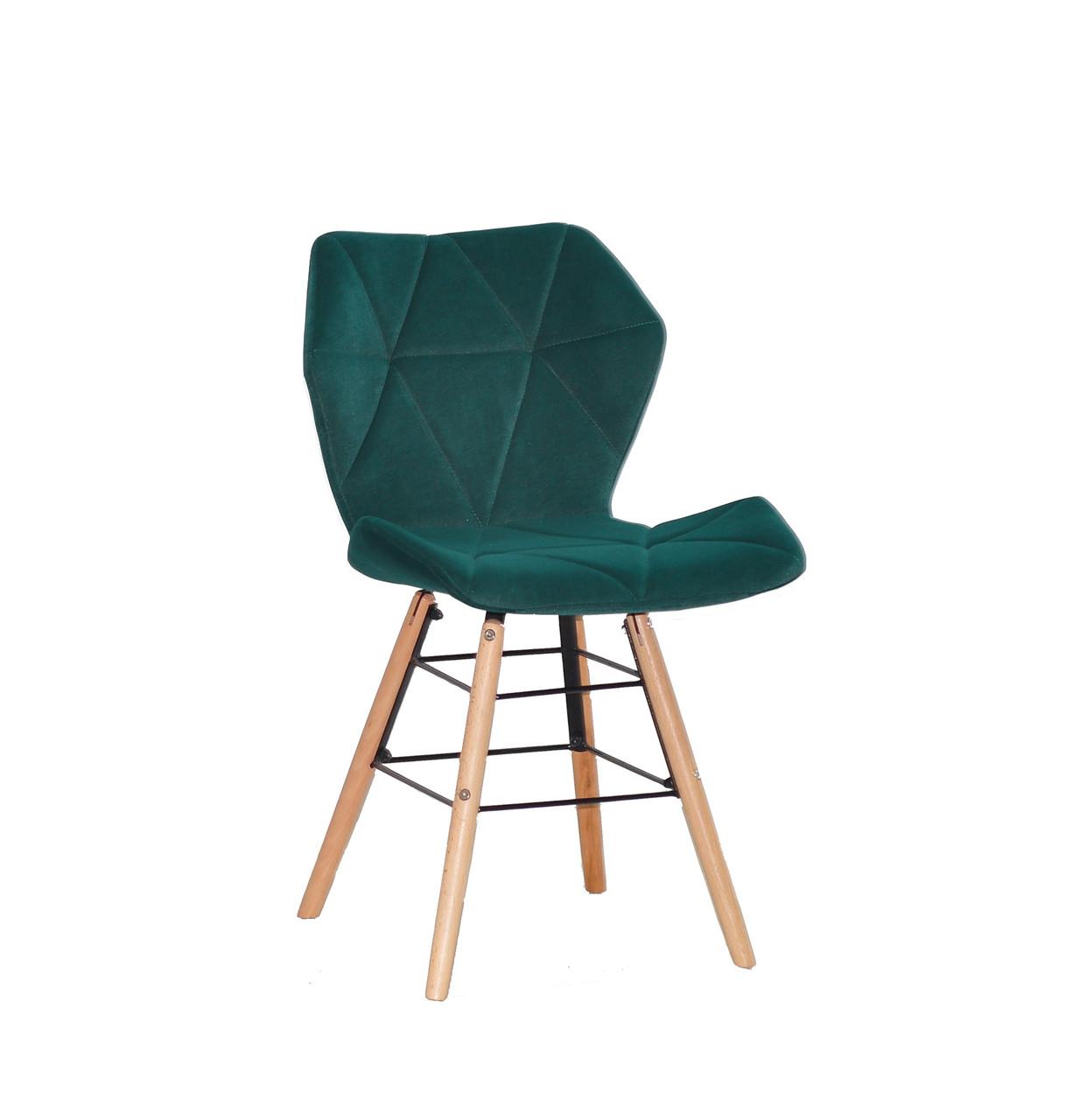 Стілець на дерев'яних ніжках зеленого кольору з оксамитовою оббивкою Greg-Q