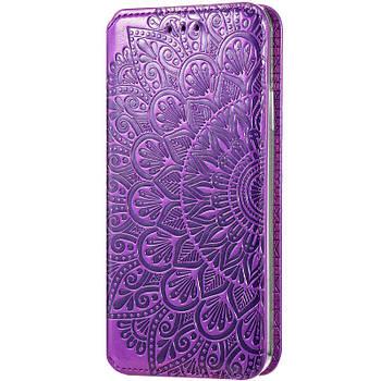 Кожаный чехол книжка GETMAN Mandala (PU) для ZTE Blade A7 Fingerprint Розовый Фиолетовый