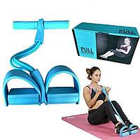 Спортивный Фитнес тренажер для мышц рук ног живота Pull Reducer Синий, Многофункциональные Силовые тренажеры