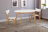 Стіл обідній овальний нерозкладний з масиву бука Космо Мікс меблі, колір білий/бук