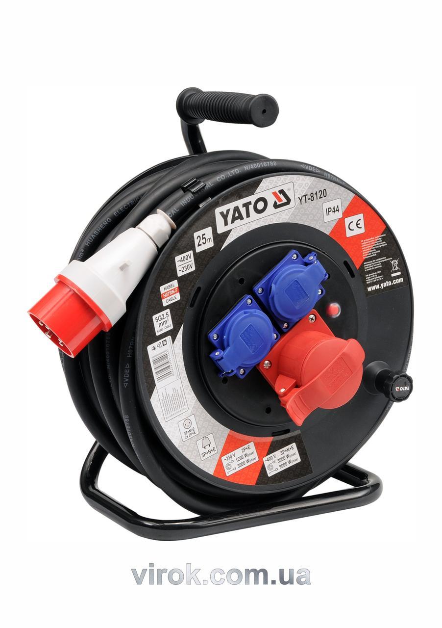 Подовжувач електричний на котушці YATO 25 м 2.5 мм² 4 гнізда 5-жильний