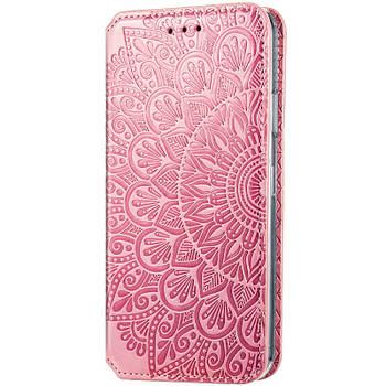 Кожаный чехол книжка GETMAN Mandala (PU) для Huawei P Smart (2021) / Y7a Розовый
