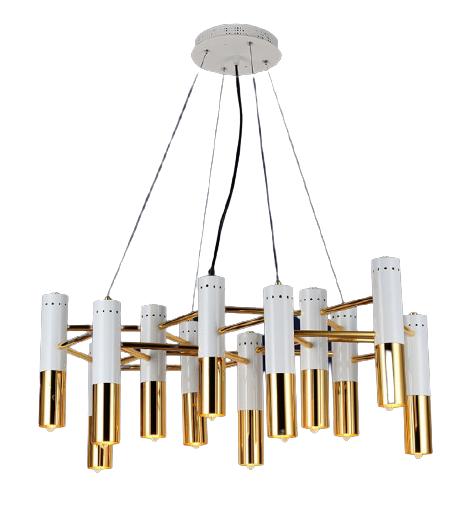 Люстра подвесная на 12 плафонов на белом основании в стиле loft 756LPR5133-12 WH+GD