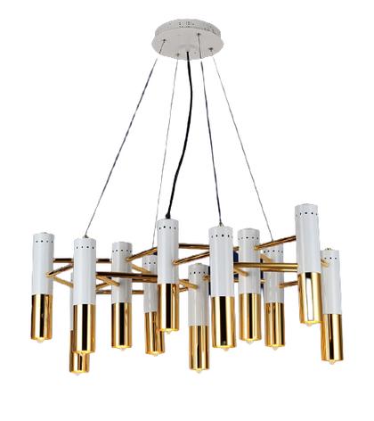 Люстра подвесная на 12 плафонов на белом основании в стиле loft 756LPR5133-12 WH+GD, фото 2