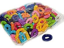 Резинки пружинки для волос разноцветные набор 100 шт