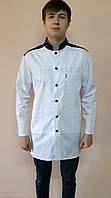 Чоловічий медичний коттоновый халат Стійка з кольоровим коміром