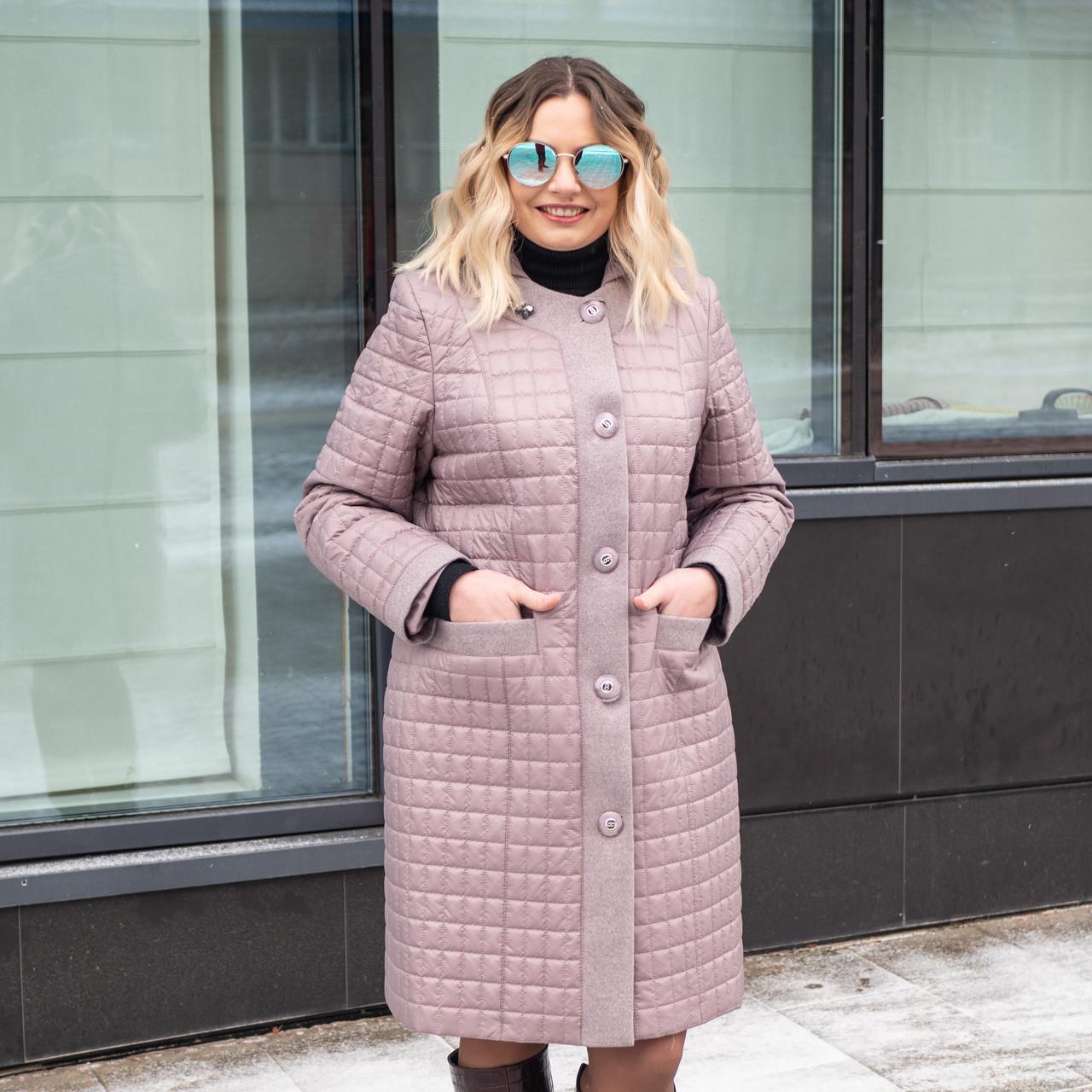 Куртка женская осень-весна  большие размеры  50-60 темная пудра