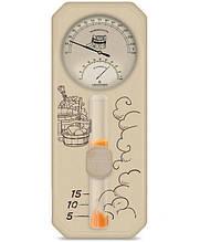 Термометр гигрометр с песочными часами для сауны и бани «Банная станция» исп.3