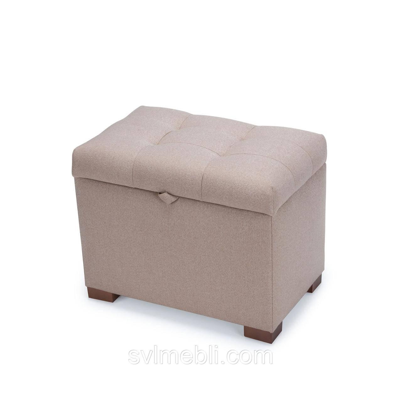 Пуф с ящиком Турин, рогожка песочный, ножки орех