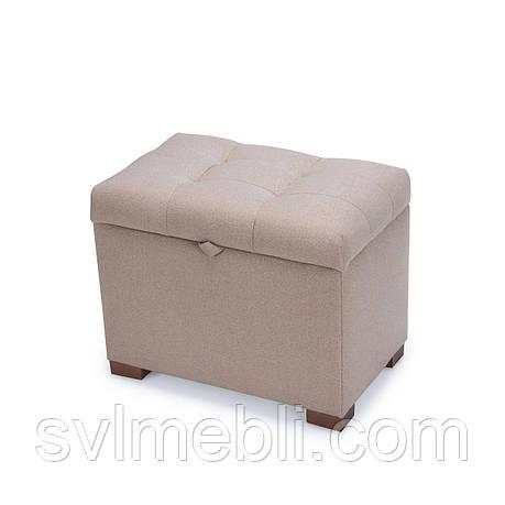 Пуф с ящиком Турин, рогожка песочный, ножки орех, фото 2